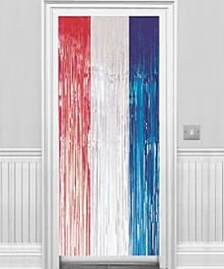Red, Silver & Blue Metallic Fringed Door Curtain - 2.4m