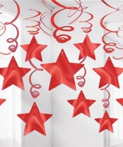 Red Star Hanging Swirls Decoration