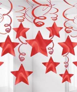 Red Star Hanging Swirls Decoration