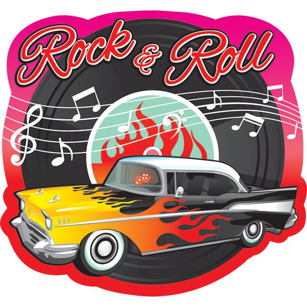 rock n roll grease party 50s classic cutout decoration. Black Bedroom Furniture Sets. Home Design Ideas