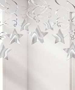 Party Decoration - Silver Star Hanging Swirls