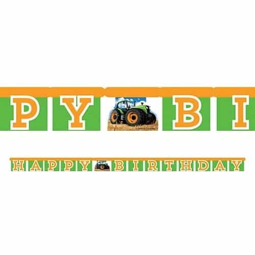 Tractor Time Party Happy Birthday Banner