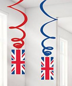 Union Jack Party Hanging Swirls Decorations