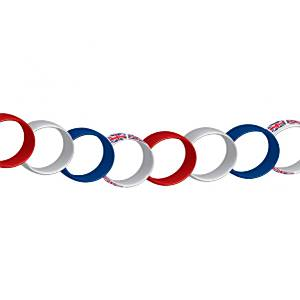 Union Jack Party Red, White & Blue Paper Chain Decoration