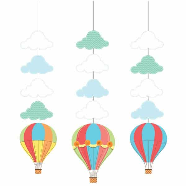 Up, Up and Away Party Hanging Cutout Decorations