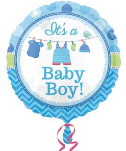 Boy's Shower With Love Party Foil Balloon