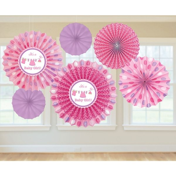 Girl's Shower With Love Party Paper Fan Decorations