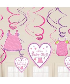 Girl's Shower With Love Party Hanging Swirls Decorations