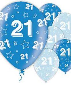 21st Birthday Printed Latex Blue Balloons