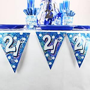 21st Blue Birthday Bunting
