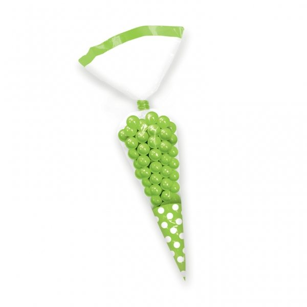 Kiwi Lime Green Cellophane Cone Sweet Bags