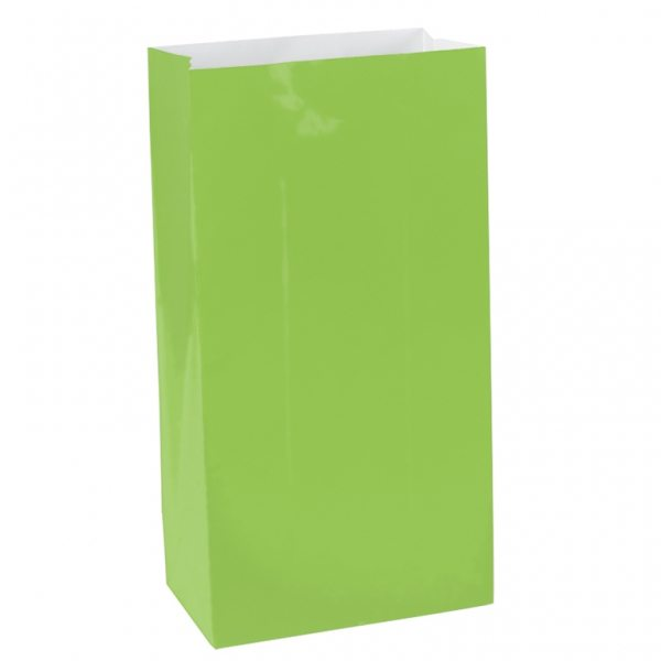 Lime Green Mini Paper Party Gift Bags