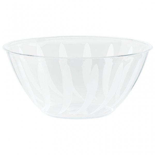 Clear Swirl Plastic Serving Bowl 4.7