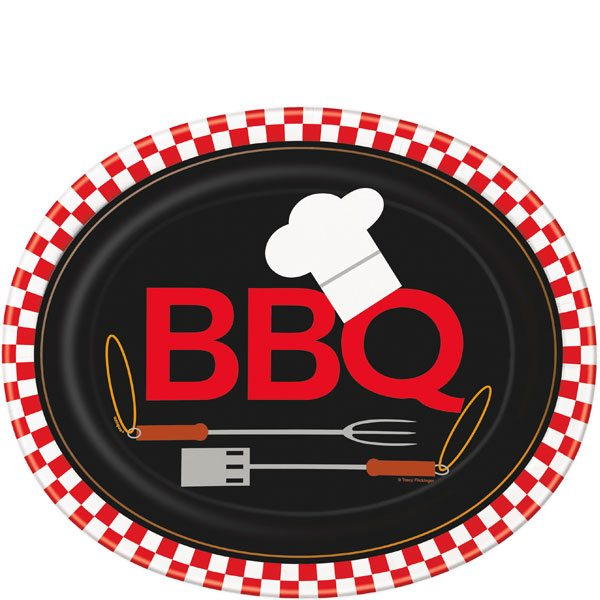 Summer Backyard BBQ Party Oval Plates