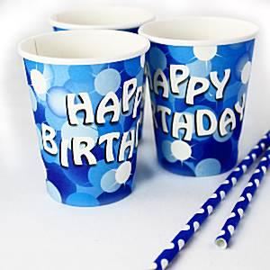 Blue Sparkle Party Paper Cups