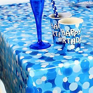 Blue Sparkle Party Plastic Tablecover