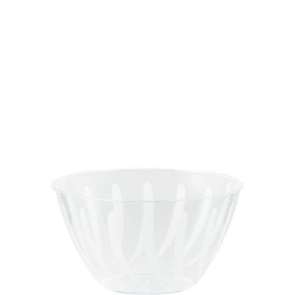 Clear Swirl Plastic Serving Bowl