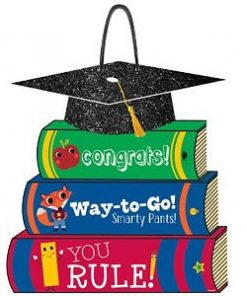 Graduation Party Stack Of Books Glitter Sign