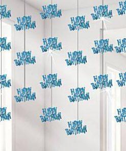 Happy Birthday Blue Hanging Strings Decoration