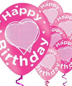 Happy Birthday Pink Printed Latex Balloons
