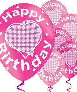 Happy Birthday Pink Printed Latex Balloons