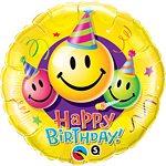 Happy Birthday Smiley Faces Foil Balloon