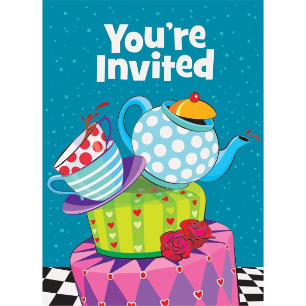 Mad Hatters Tea Party Invitation Cards