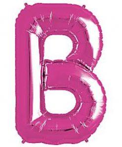 Magenta Letter B Foil Balloon