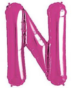 Magenta Pink Letter N Foil Balloon