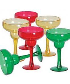 Multi-coloured Plastic Mini Margarita Glasses