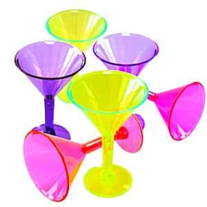 Multi-coloured Plastic Mini Martini Glasses