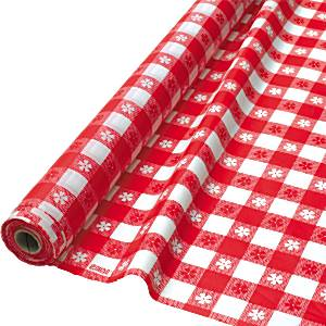 Red Gingham Plastic Table Banqueting Roll