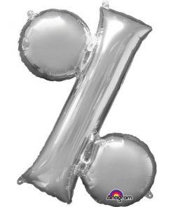 Silver Letter % Foil Balloon