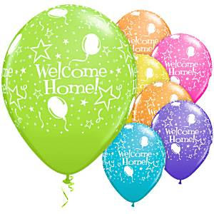 Welcome Home Assorted Stars Printed Latex Balloons