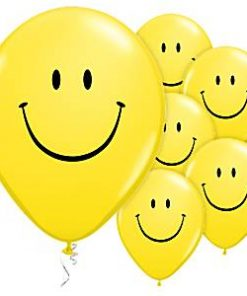 Yellow Smiley Face Printed Latex Balloons