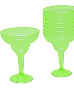 Kiwi Green Plastic Margarita Glasses