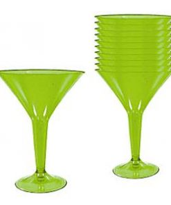 Kiwi Lime Green Plastic Martini Glasses