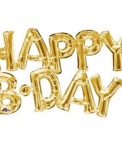 HAPPY B'DAY Gold Foil Balloon