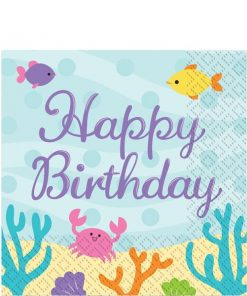 Mermaid Friends Party Happy Birthday Paper Napkins