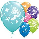 Mermaid Friends Party Printed Latex Balloons