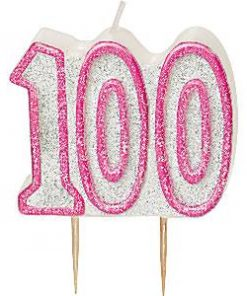 100th Birthday Candle - Pink