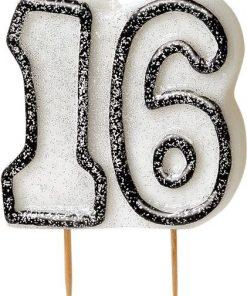 16th Birthday Candle - Black