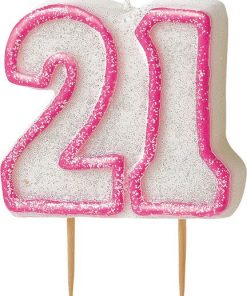 21st Birthday Candle - Pink