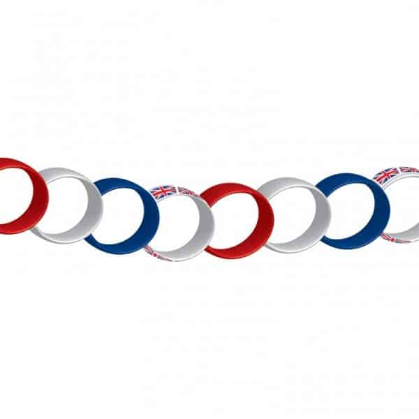 Union Jack Red, White & Blue Paper Chain Decoration