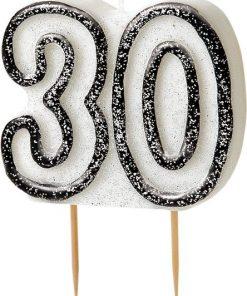 30th Birthday Candle - Black