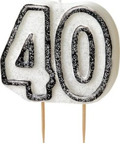 40th Birthday Candle - Black