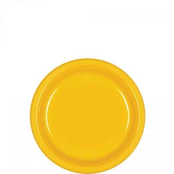 Yellow Party Dessert Plastic Plates