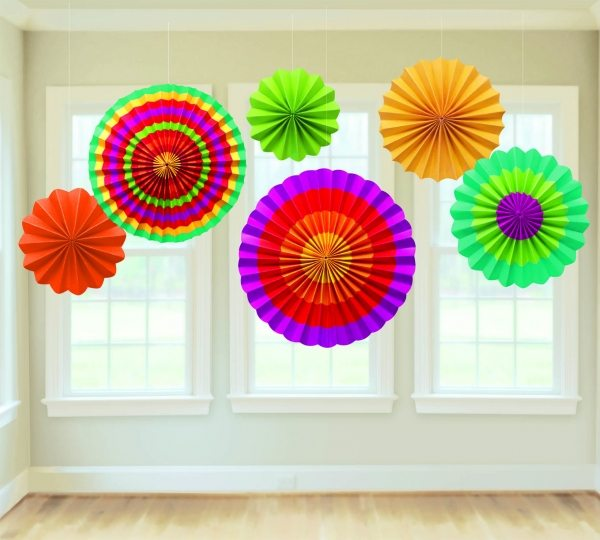 Mexican Fiesta Party Paper Fan Decorations
