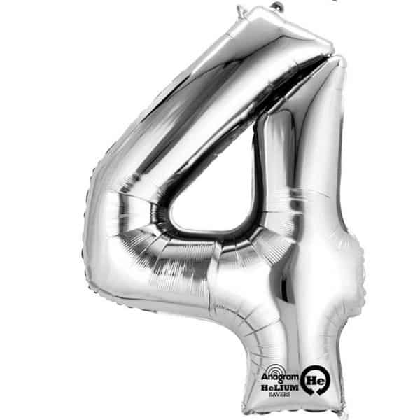 "Silver Number 4 - 16"" Foil Balloon"