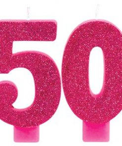 50th Birthday Pink Glitter Candle